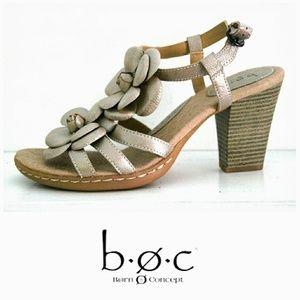 BORN Champagne Metallic Flower Ankle Strap Heels